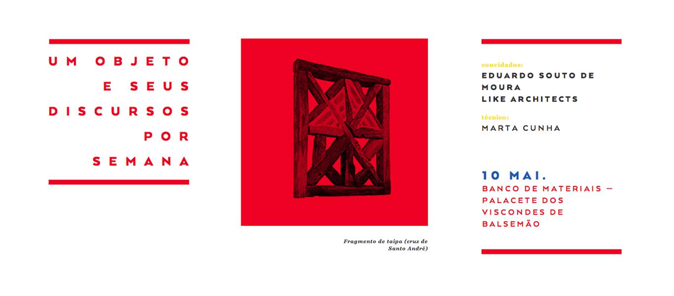 """Eduardo Souto de Moura e Like Architects no debate """"Fragmento de taipa (cruz de Santo André)"""", no Porto, Courtesy of umobjetoeseusdiscursos.com"""