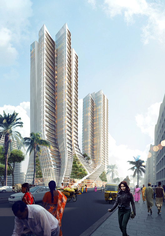 "Construction Begins on 3XN's ""Grove Towers"" in Mumbai, Street View. Image © 3XN"