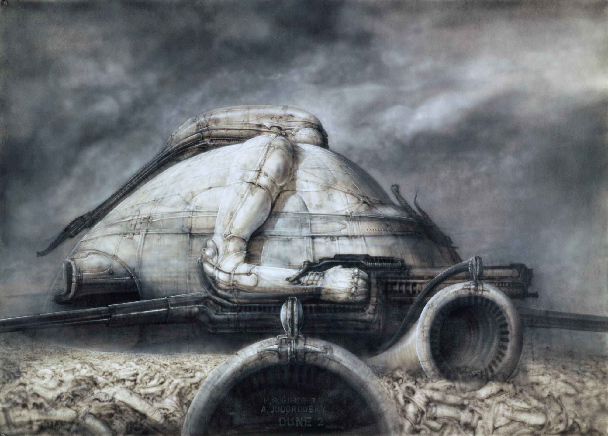 Paisajes biomecánicos: La Arquitectura y el diseño en el imaginario de H.R. Giger, Dune, 1975. Pintura,70×100 cm, acrílico sobre papel . Image Courtesy of Giger Museum