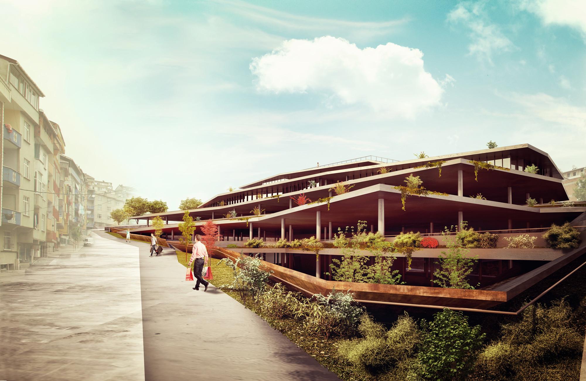 Suyabatmaz Demirel Proposes Terraced Market Hall for Sultangazi , Exterior View. Image © Suyabatmaz Demirel Architects