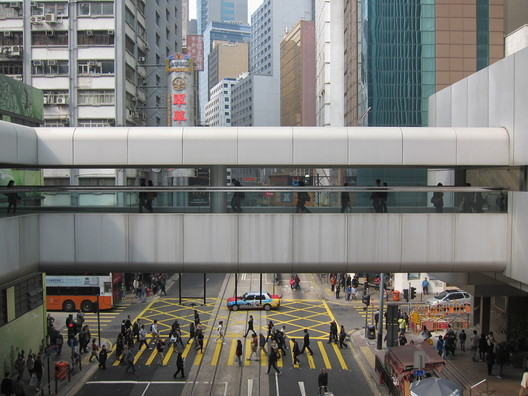 Footbridge in Central, Hong Kong. Image by Adam Frampton