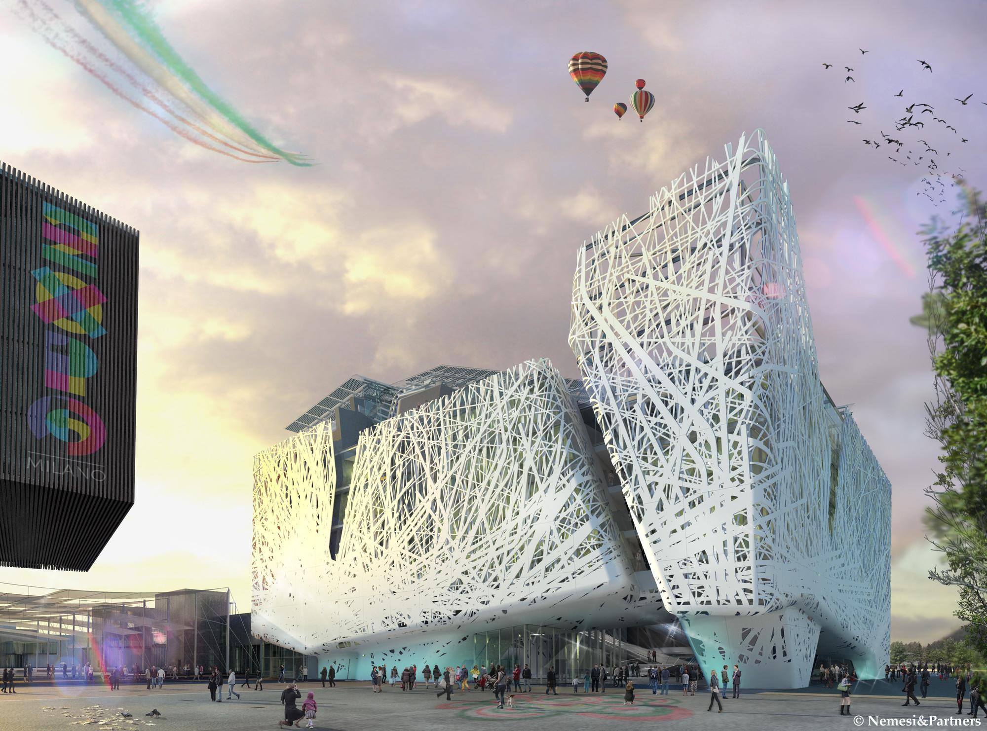 Expo Milán 2015: Nemesi & Partners anuncian Pabellón de Italia que consume smog , Entrada principal. Imagen © Nemesi & Partners