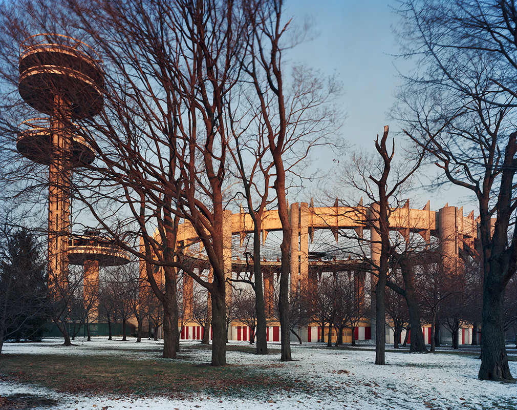 "Exhibition: World's Fairs / Lost Utopias, © 2014 Jade Doskow New York 1964 World's Fair, ""Peace Through Understanding,"" New York State Pavilion, Winter"