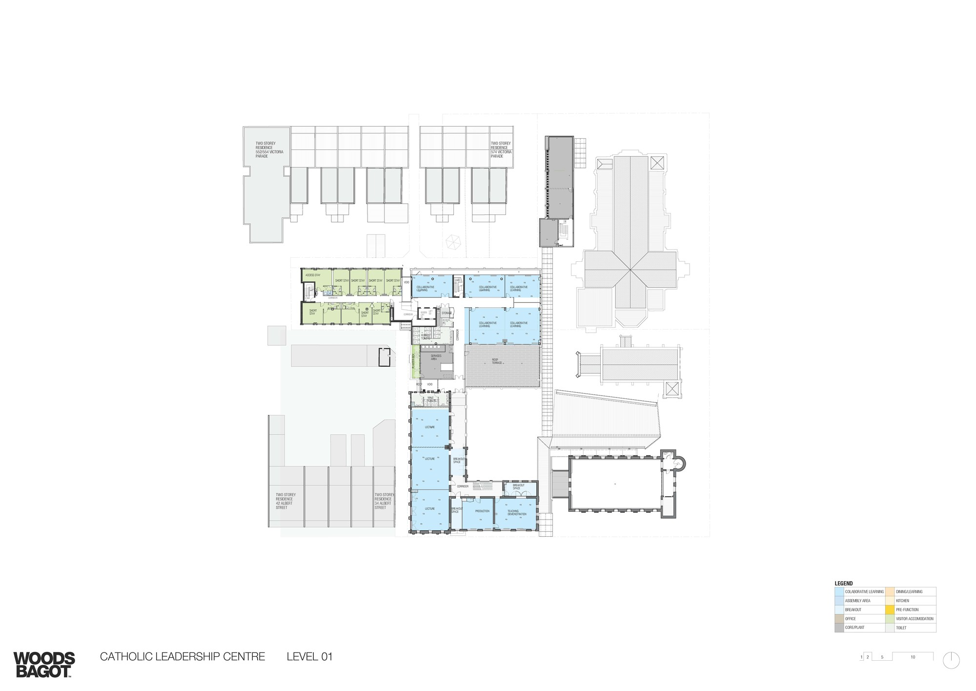 catholic leadership centre woods bagot archdaily first floor plan