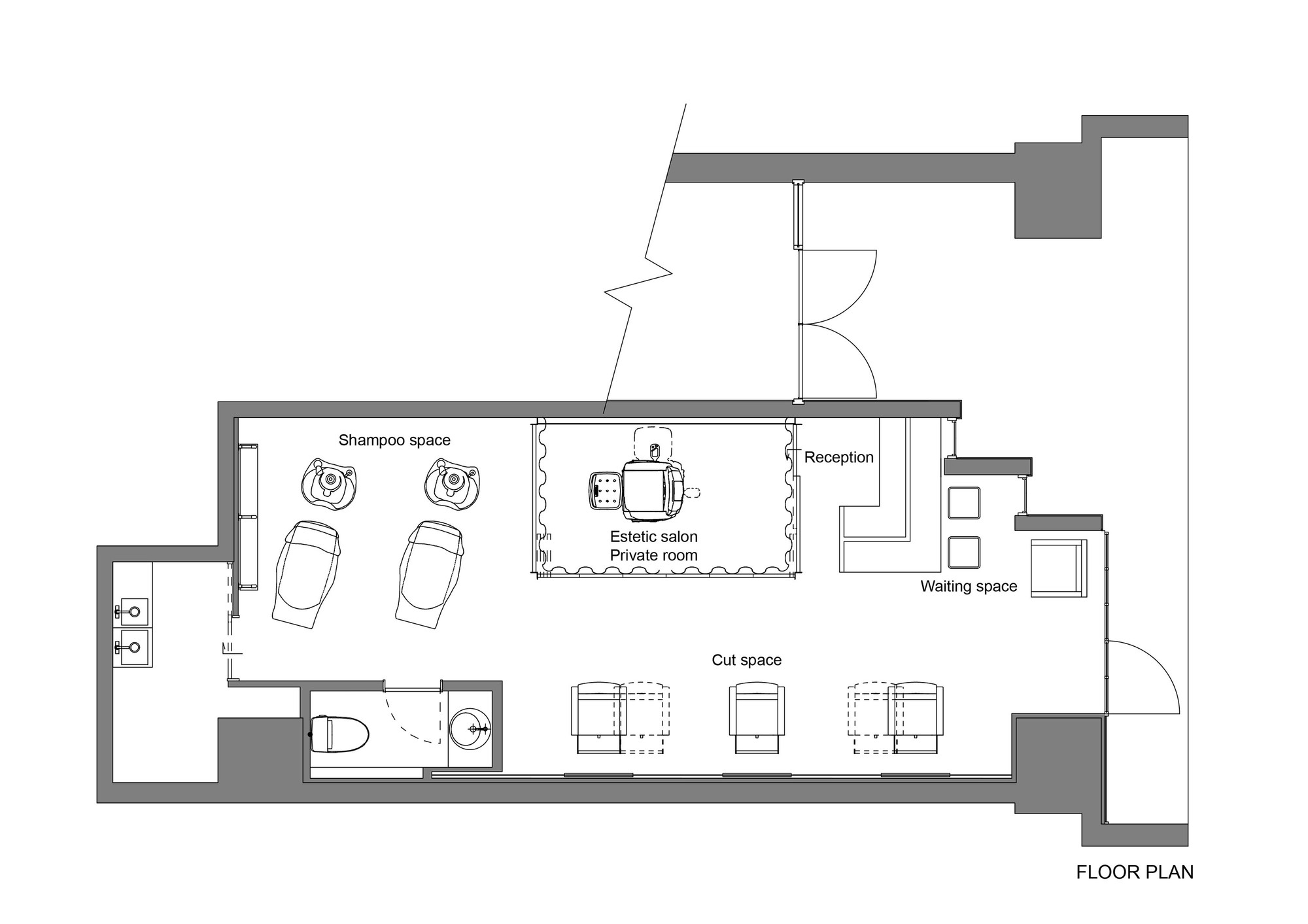 Gallery of ki se tsu hair salon iks design 13 for Dog grooming salon floor plans