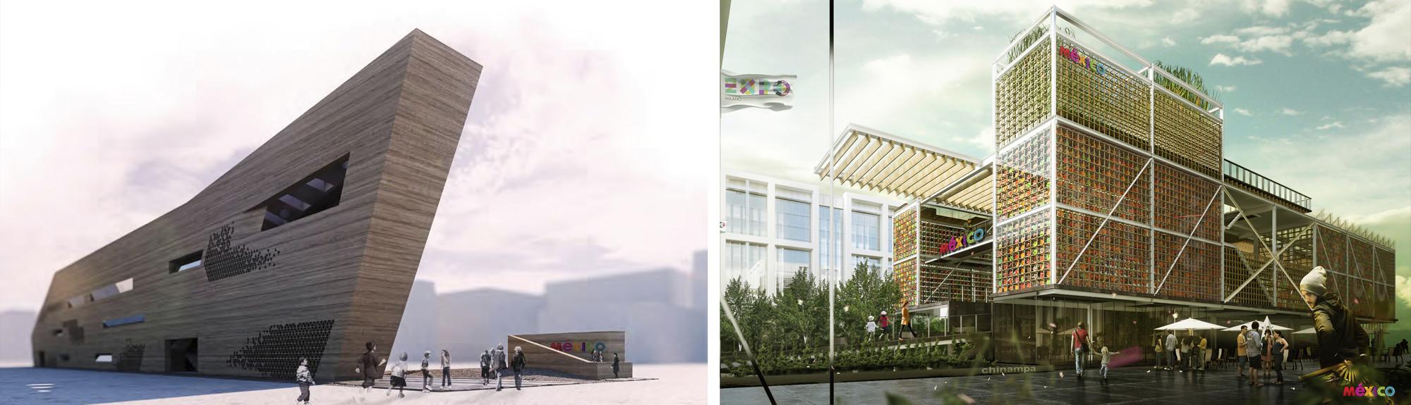 Menciones Honoríficas del Concurso para el Pabellón de México en la Expo Milán 2015, En imagen, a la izquierda proyecto de Manuel Díaz, Marcela Delgado, Emmet Truxes y Elena Tudela Rivadeneyra. A la derecha proyecto de Buscando la Aurora.