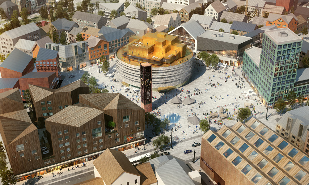 City of Kiruna To Move Two Miles Over This June, The new city center with the salvaged bell tower. Image Courtesy of White Arkitekter