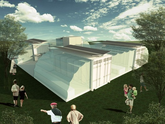 The University of Sao Paulo's communal bathroom proposal for post-disaster relief. Image Courtesy of Pillars of Sustainable Education