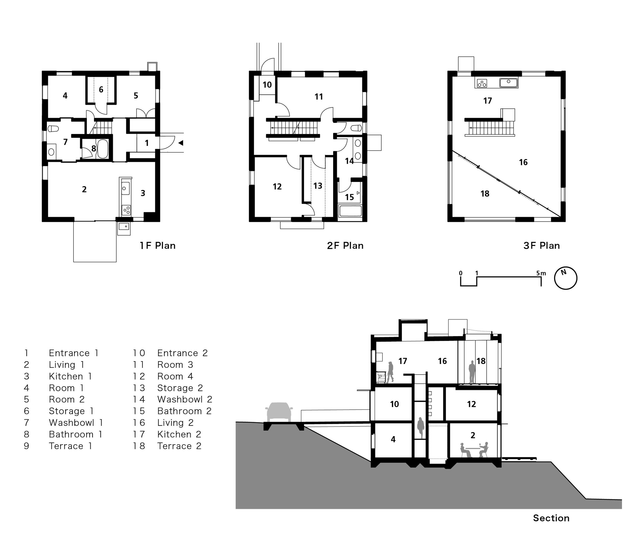 Plan Section Elevation Examples : Gallery of house with square opening nks architects