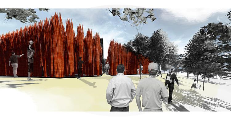 Grupo Talca gana YAP_Constructo 2014 con 'Bosque de mimbre', Ganador: 'Bosque de mimbre' de Grupo Talca. Image Cortesía de YAP_CONSTRUCTO