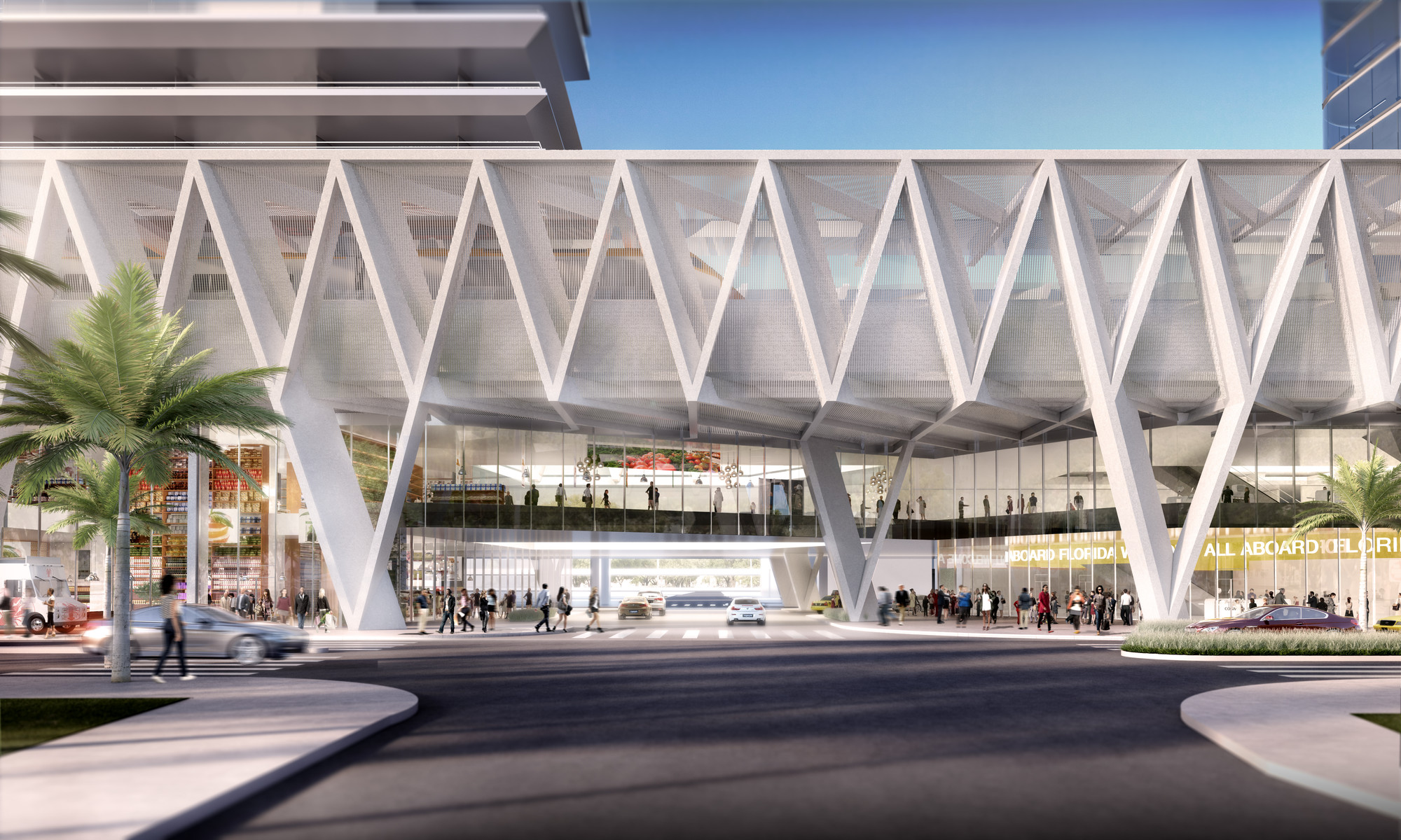 "SOM Reveals Design for ""All Aboard Florida"" Train Station, Miami Station- 1st Avenue elevation. Image © SOM"