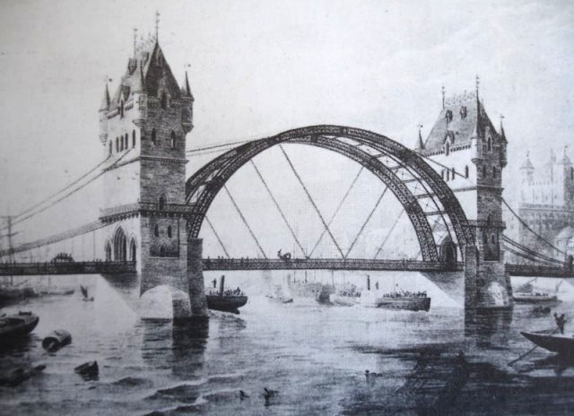 8 versões alternativas de monumentos famosos, Tower Bridge alternativa para Londres, projetada por Horace Jones