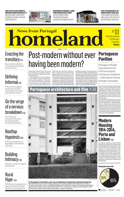 "Venice Biennale 2014: Portugal to Distribute ""Homeland"" Newspaper Based on Housing, Cover of ""Homeland, News from Portugal"""