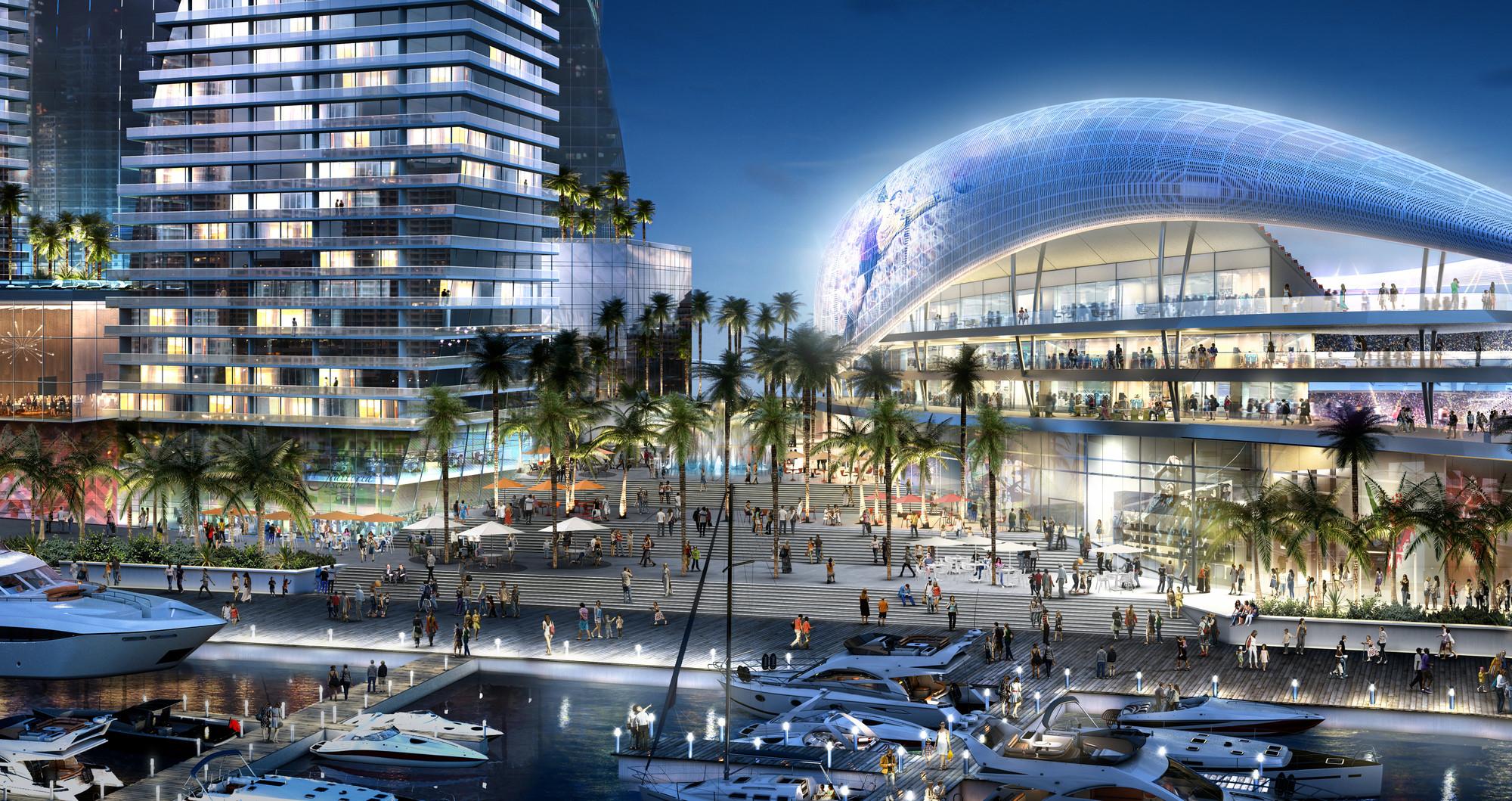 Plan de David Beckham para su Estadio en Miami provoca controversia, El plan original en el puerto de Miami, ahora es improbable de ser construido. Imágen © 360 Architecture and Arquitectonica