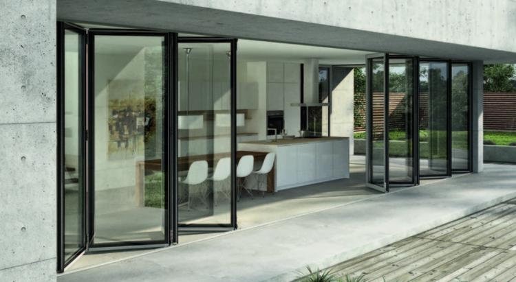Materiales ventanas componentes y detalles plataforma Puertas plegables de aluminio