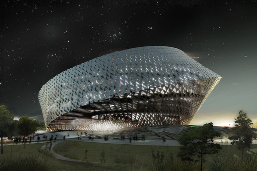 BIG's 2009 render for the National Library in Astana, Kazakhstan, which was never built. Image © BIG-Bjarke Ingels Group