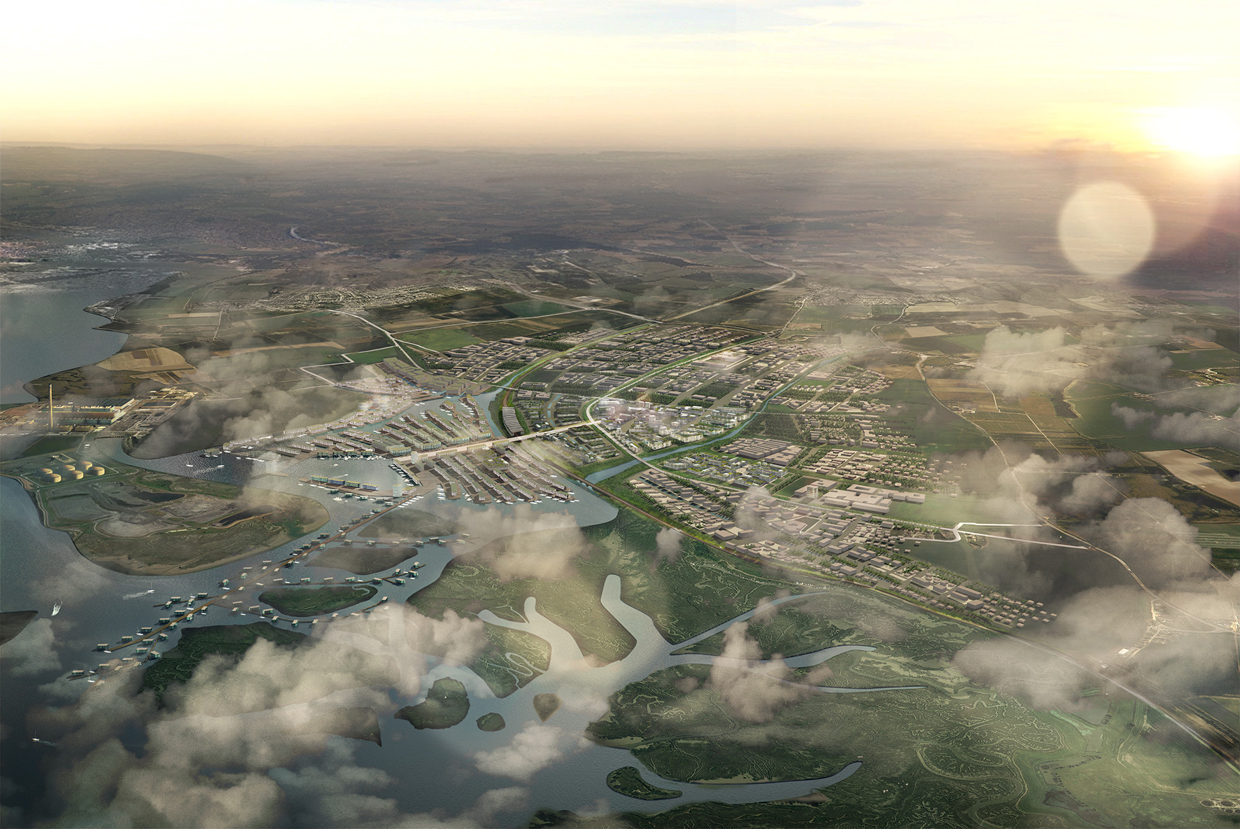 5 Concepts for Garden Cities Shortlisted for the 2014 Wolfson Economics Prize, Aerial view of Shelter's Masterplan for the Hoo Valley. Image Courtesy of Wolfson Economics Prize