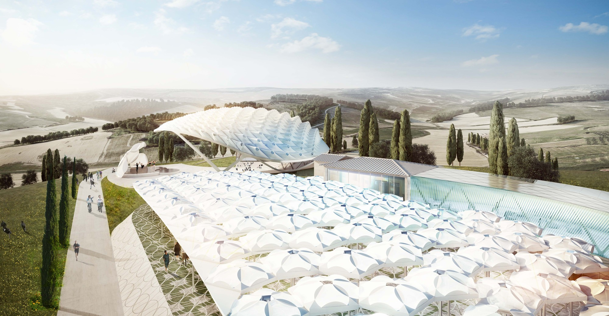 "Asymptote Architecture to Design ""Park of Angels"" in Italy, An aerial view of the park's canopies. Image Courtesy of Asymptote Architects"