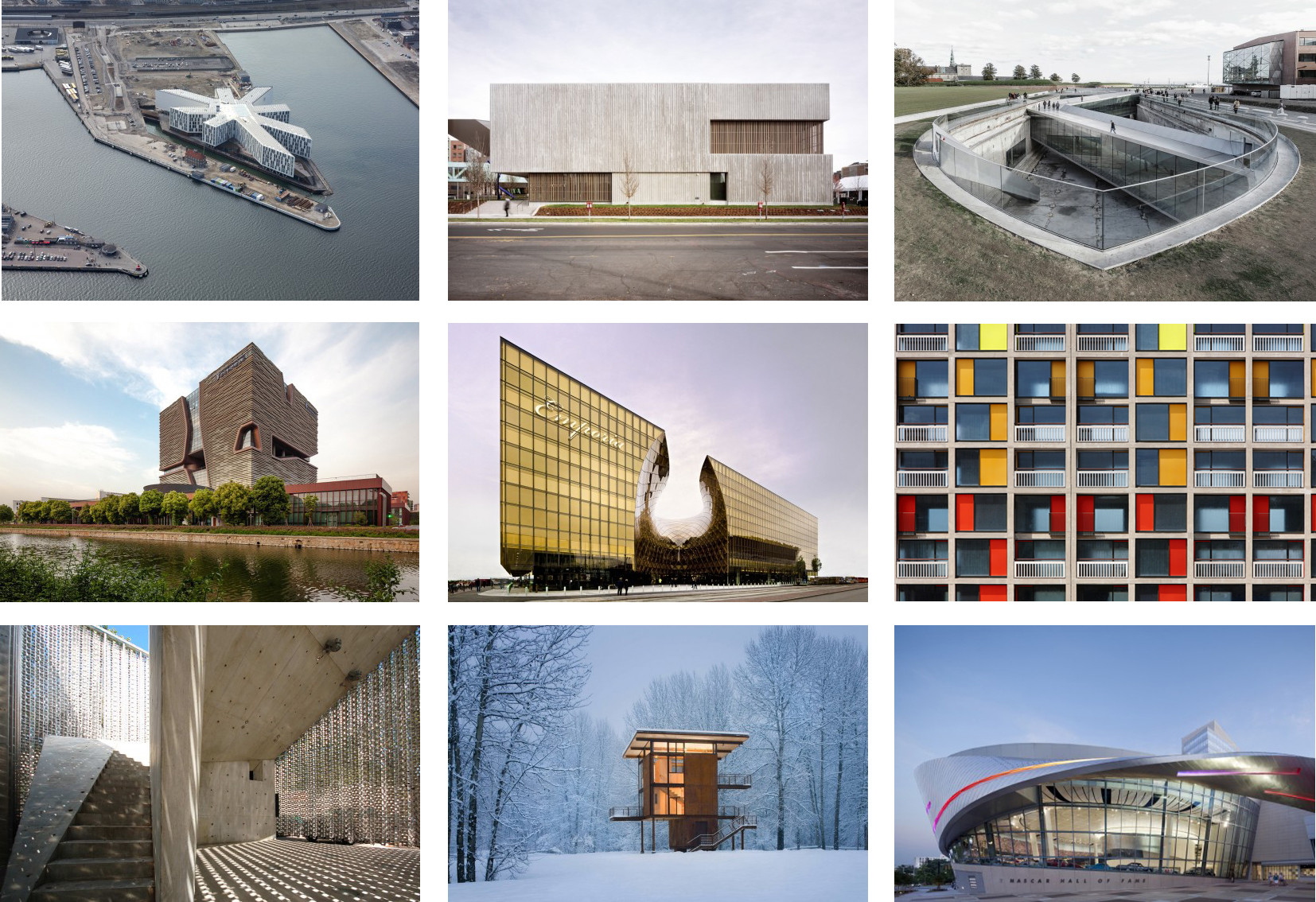 Aedas, BIG, 3XN, & Ten Others Named to Van Alen Institute's International Council of Architecture & Urban Design, Works (from upper left to right) by 3XN,  Allied Works Architecture, BIG, (mid left to right) Aedas, Windgardhs, Studio Egret West, (bottom left to right) 5468796 Architecture,  Olson Kundig Architects, and Pei Cobb Freed & Partners. All firms involved in the Van Alen Institute's International Council