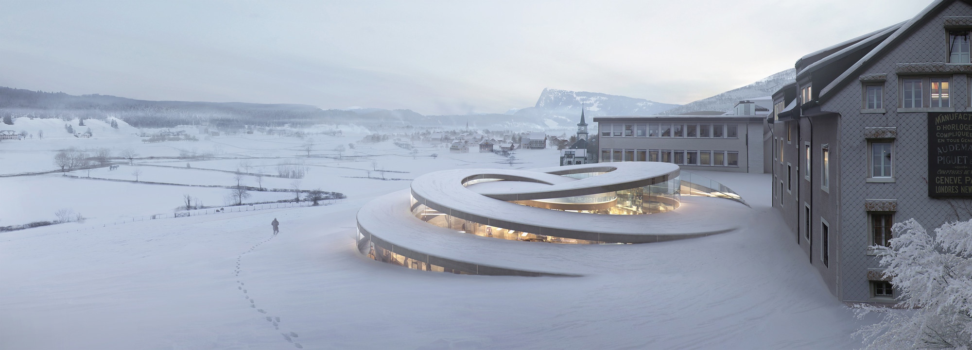 BIG Designs Spiralling Museum for Swiss Watchmaker, © BIG