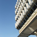 Exterior sun-shading on the Siemen's Buildings, designed by Sheppard Robson. Image © Tyler Caine