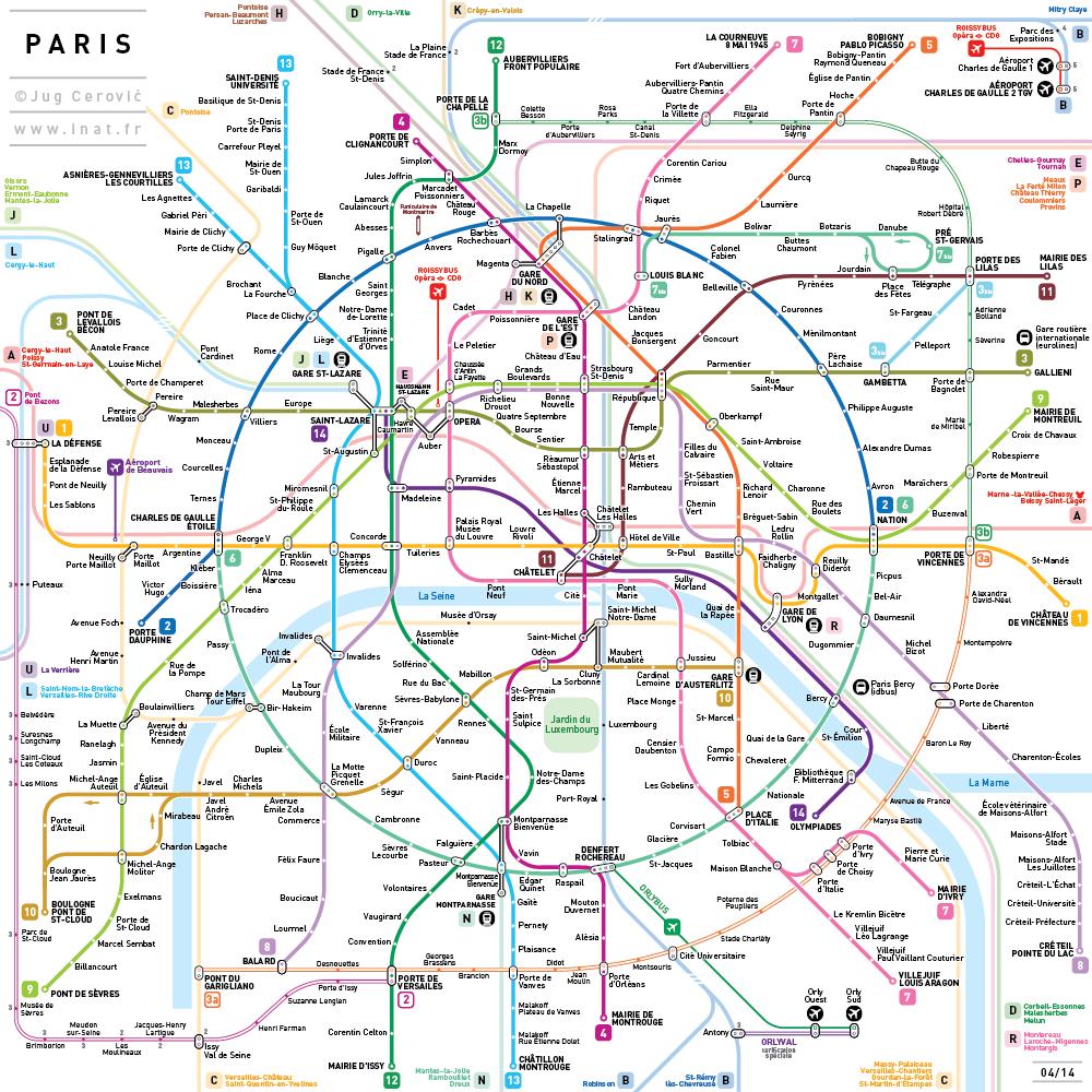 7 regras para desenhar o mapa de metrô de qualquer cidade do mundo, Paris. Image © Jug Cerovic