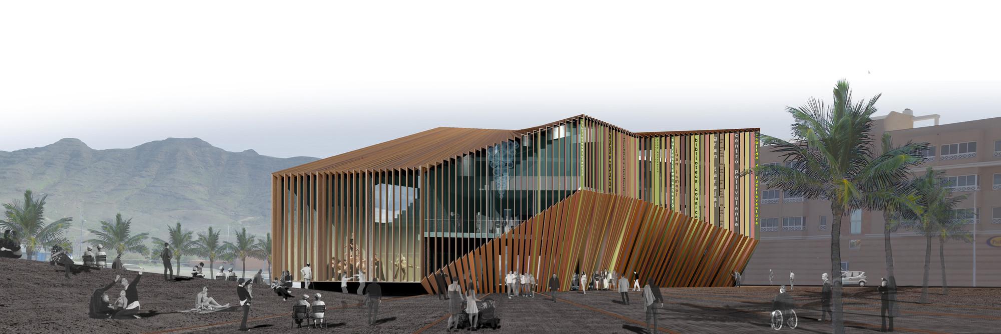 Primer Lugar Biblioteca y Centro Polivalente de Fuerteventura / Islas Canarias, España, Vista desde plaza. Image Courtesy of SUMA