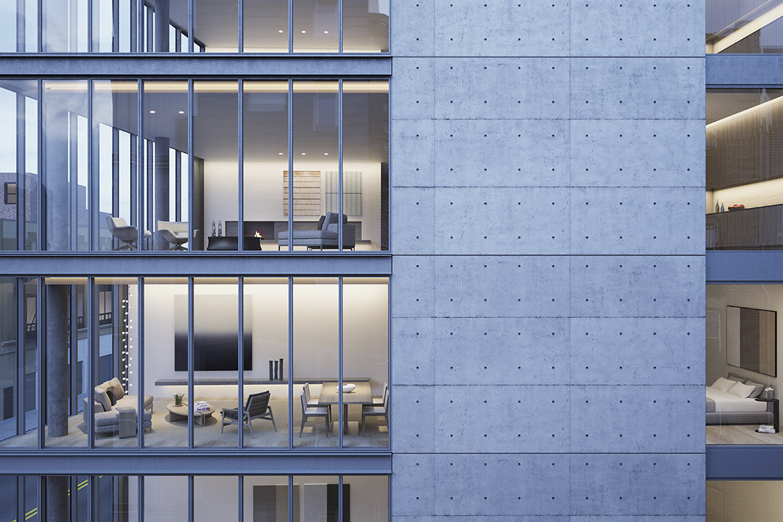 Tadao Ando Designs Luxury Residential Building in New York, Rendering of 152 Elizabeth Street, developed by Sumaida + Khurana. Image © Tadao Ando