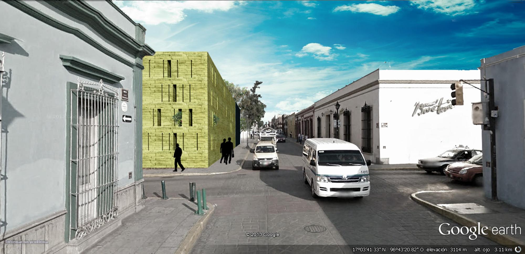 Primer Lugar del Concurso para el Diseño del Centro de Vinculación San Pablo / Oaxaca, México, Cortesía Equipo Primer Lugar. ImagePerspectiva Exterior desde Independencia
