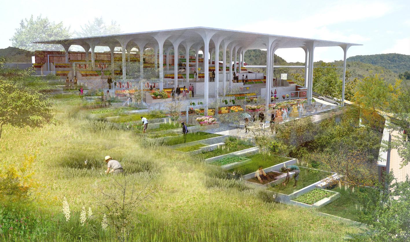 Primer Lugar en Concurso de anteproyecto Plaza de Mercado de Nuevo Gramalote / Colombia, Courtesy of Jheny Nieto + Rodrigo Chain