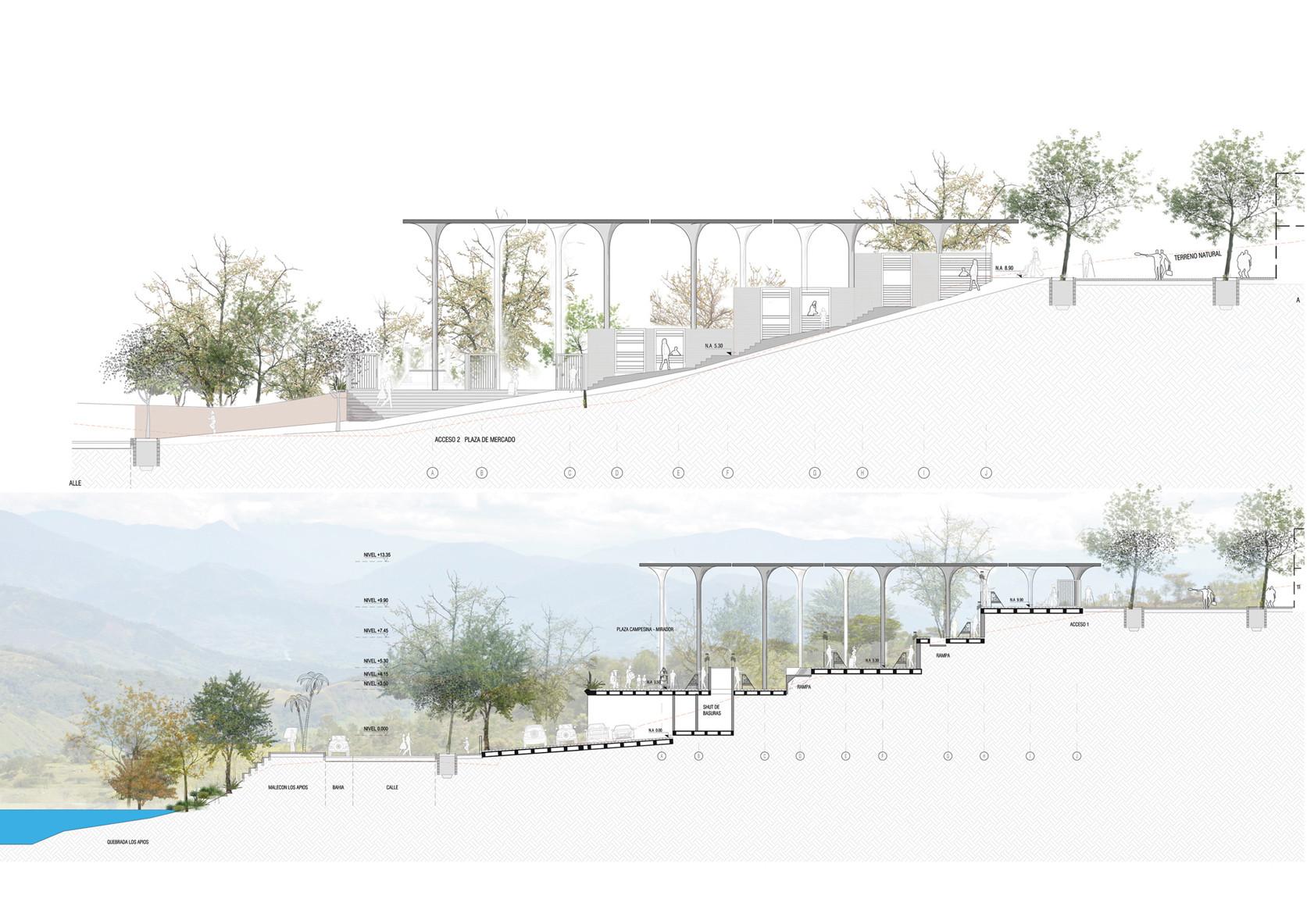 Primer lugar en concurso de anteproyecto plaza de mercado for Cortes arquitectonicos