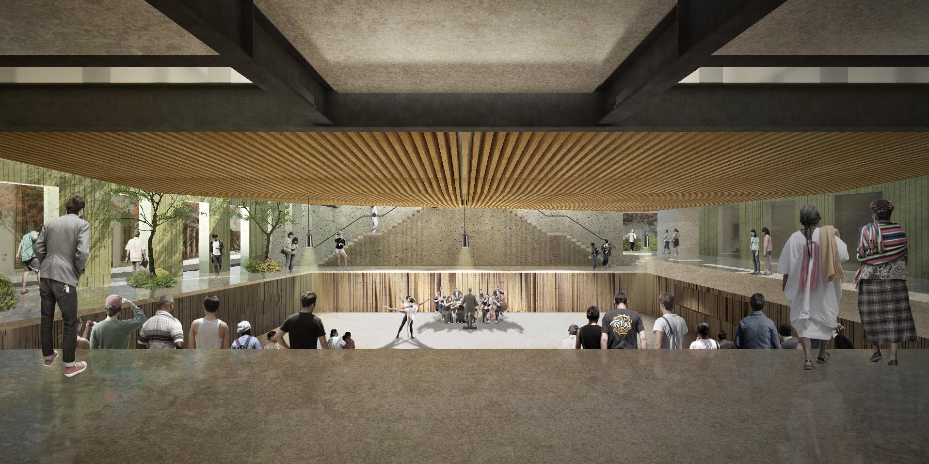 Segundo Lugar del Concurso para el Diseño del Centro de Vinculación San Pablo / Oaxaca, México, Cortesía AT103 / Escenario