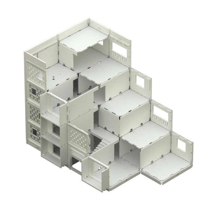 """Em Detalhe: Especial / Sistema de painel pré-fabricado """"KPD"""", Axonométrica escalonada. Sistema """"KPD"""", Chile (1972)"""