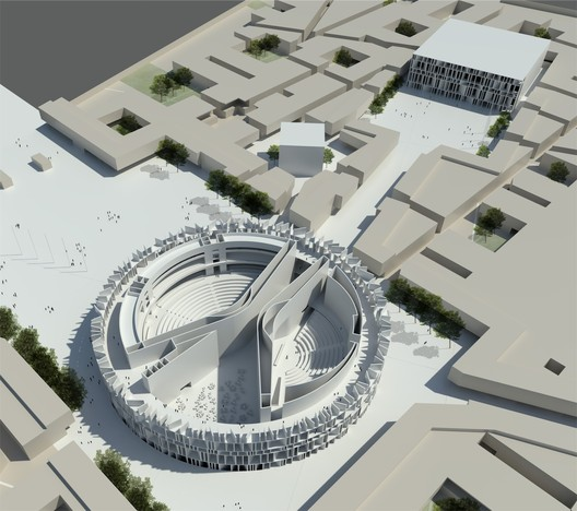 The now abandoned competition-winning design by Assemblage. The Iraqi Council of Representatives has come under fire for not releasing details of Hadid's design. Image © Assemblage
