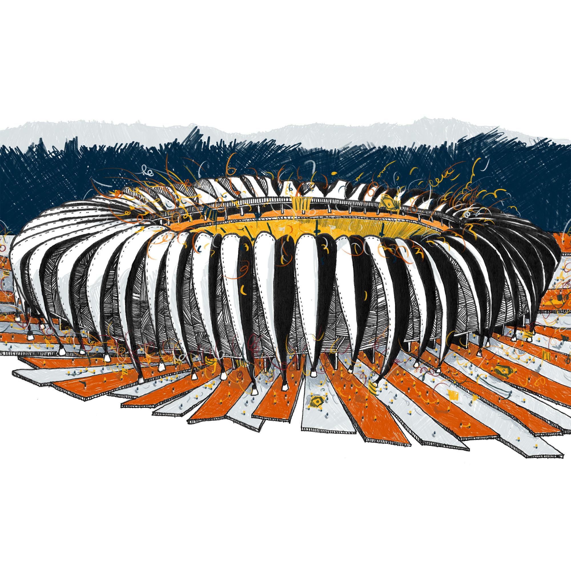 Estádios da Copa ilustrados pelo estúdio Vapor 324, Estádio Beira Rio - Porto Alegre. Image Courtesy of Vapor 324