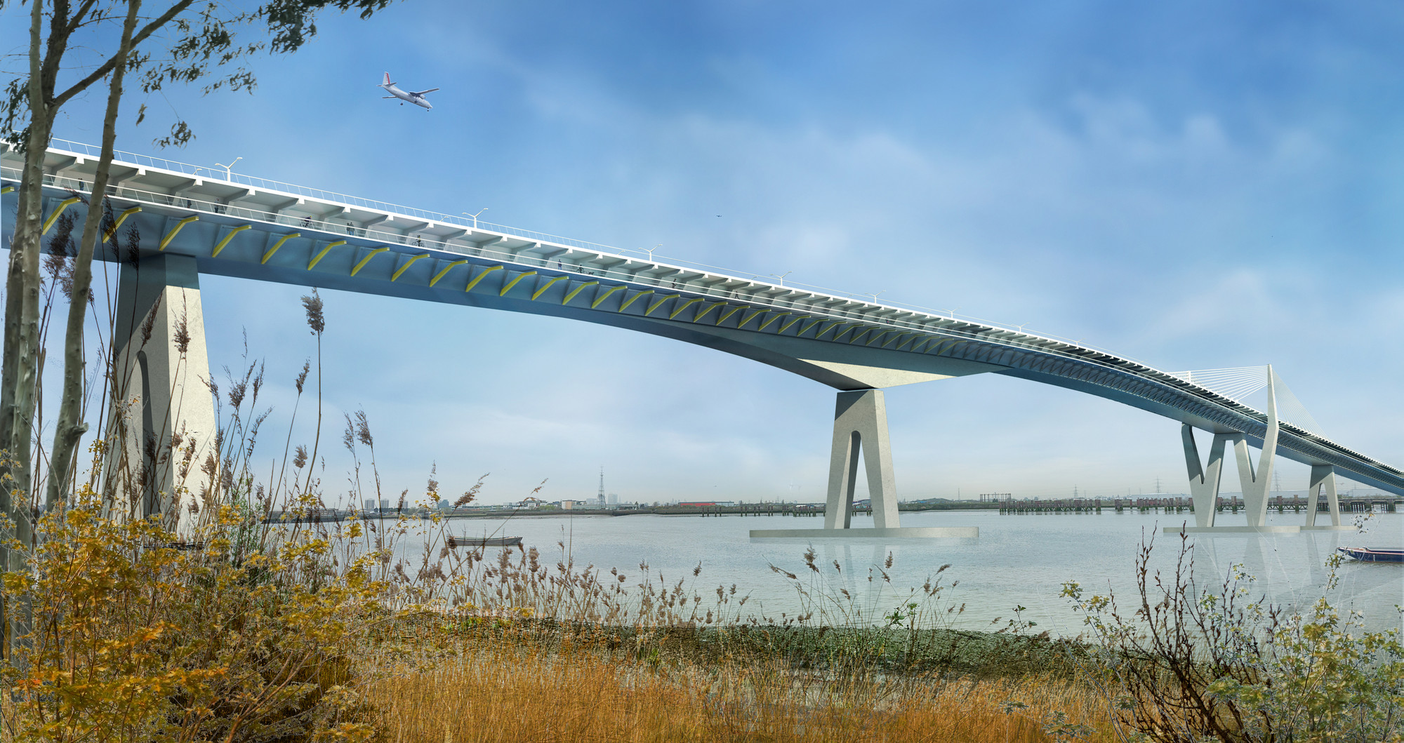 HOK Proposes East London Thames Crossing, © HOK/Arup