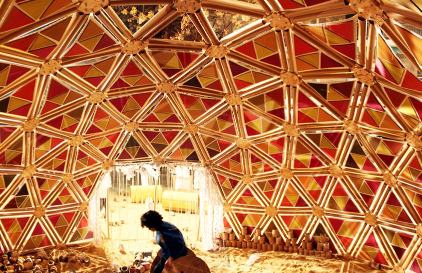 Valencia espa a domo geod sico de materiales reciclados para la falla de castielfabib - Materiales de construccion valencia ...