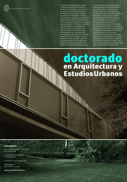 Cierre de convocatoria Doctorado en Arquitectura y Estudios Urbanos PUC / Chile