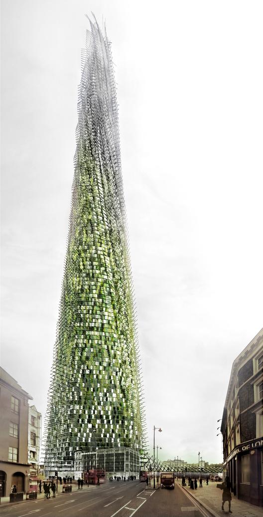 Proposta de um arranha-céu em Londres que cresce à medida que seus habitantes reciclam seus resíduos, Vista externa. Cortesia de Chartier Corbassons architectes