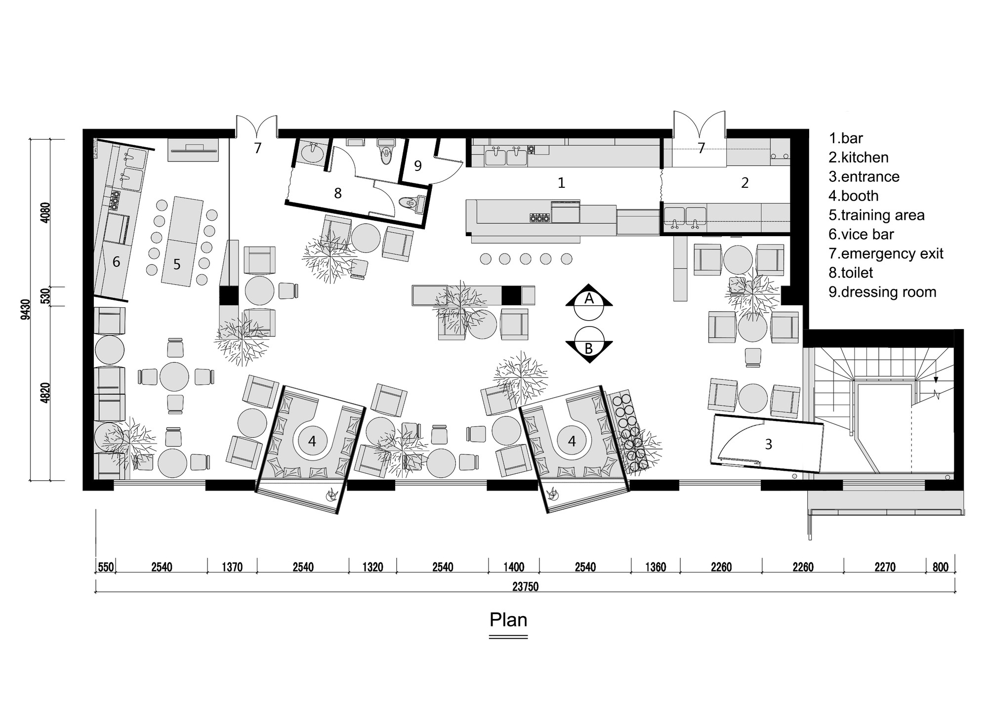 Kale caf yamo design archdaily for Coffee shop floor plan with dimensions