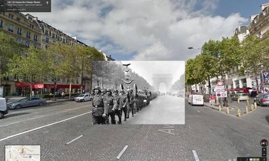 Fotografías históricas de la Segunda Guerra Mundial en Google Street View
