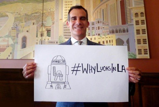 Los Angeles Mayor Eric Garcetti proudly displays his pro-Lucas Twitter hastag. Image Courtesy of City of Los Angeles