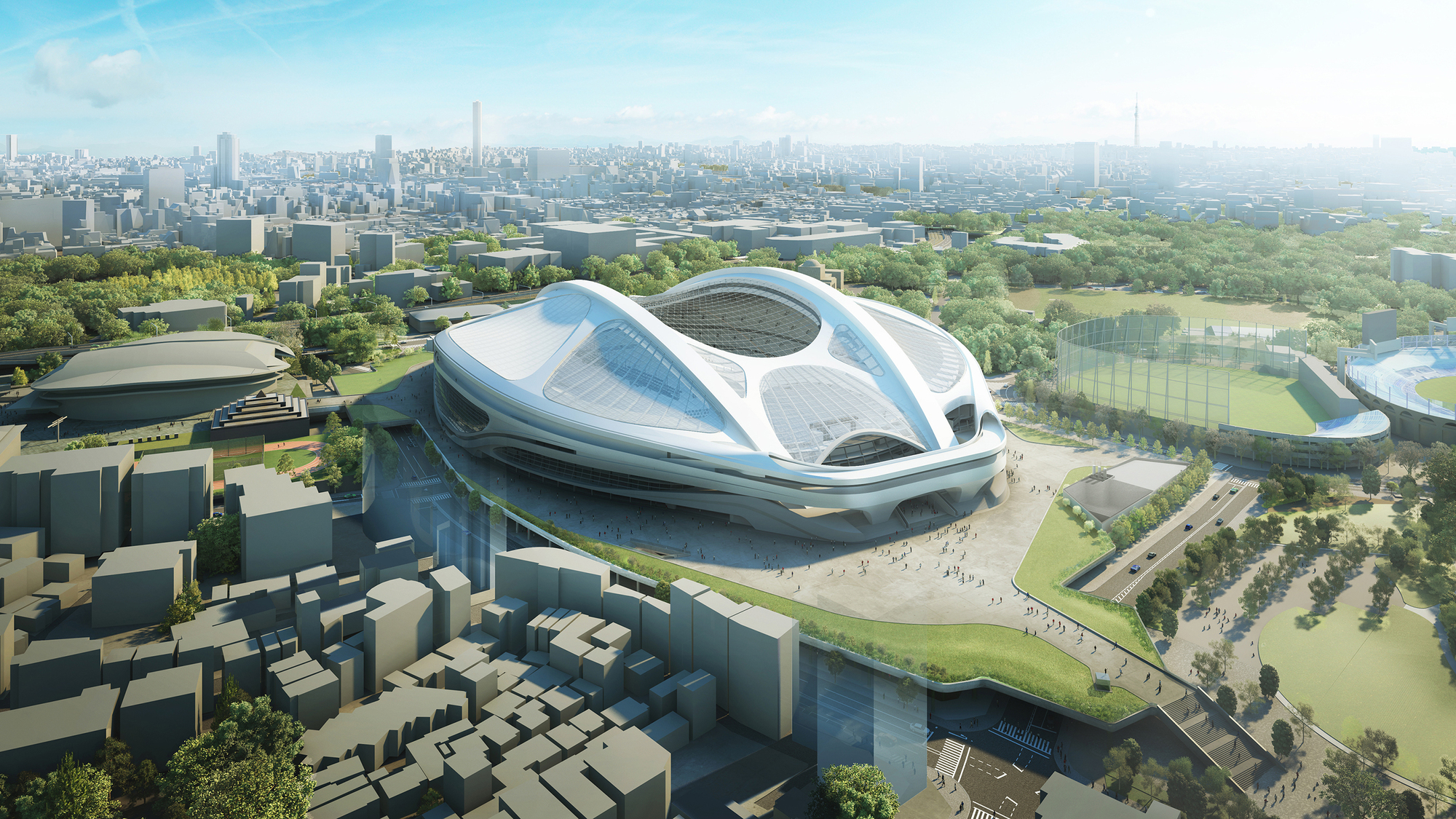 Zaha Hadid Architects Reveals Modified Tokyo National Stadium Designs, The updated design for the Tokyo National Stadium. Image © Japan Sport Council