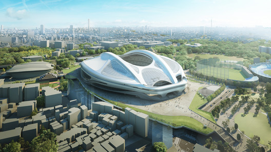 The updated design for the Tokyo National Stadium. Image © Japan Sport Council