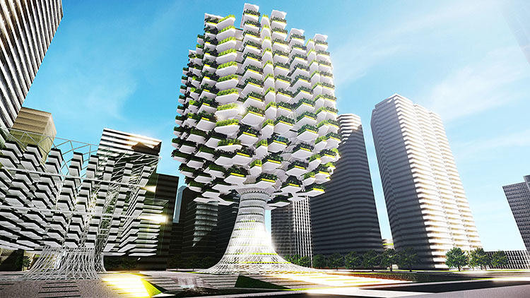Tree-Like Skyscraper Takes Urban Farming to Next Level, Courtesy of Aprilli Design Studio