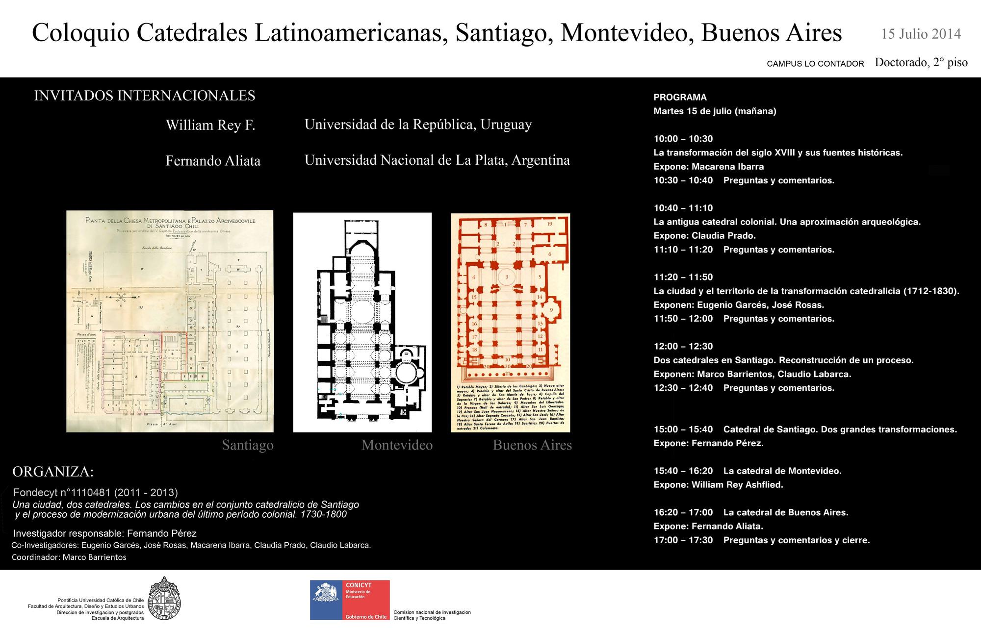 Coloquio sobre catedrales latinoamericanas: Santiago, Montevideo, Buenos Aires / Santiago, Chile