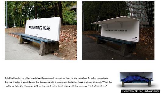 ONG canadense modifica mobiliário urbano para acolher moradores de rua