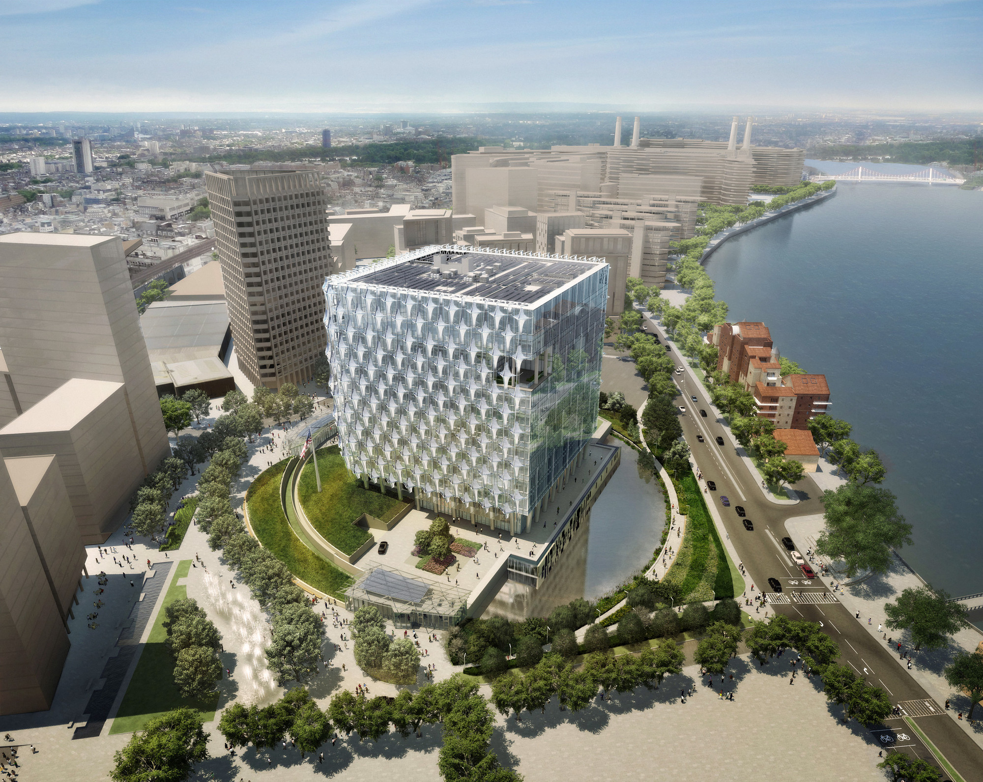 "Does Architectural ""Excellence"" Put Embassies at Risk?, The new US Embassy in London – designed by Philadelphia's KieranTimberlake. Image via US Department of State."