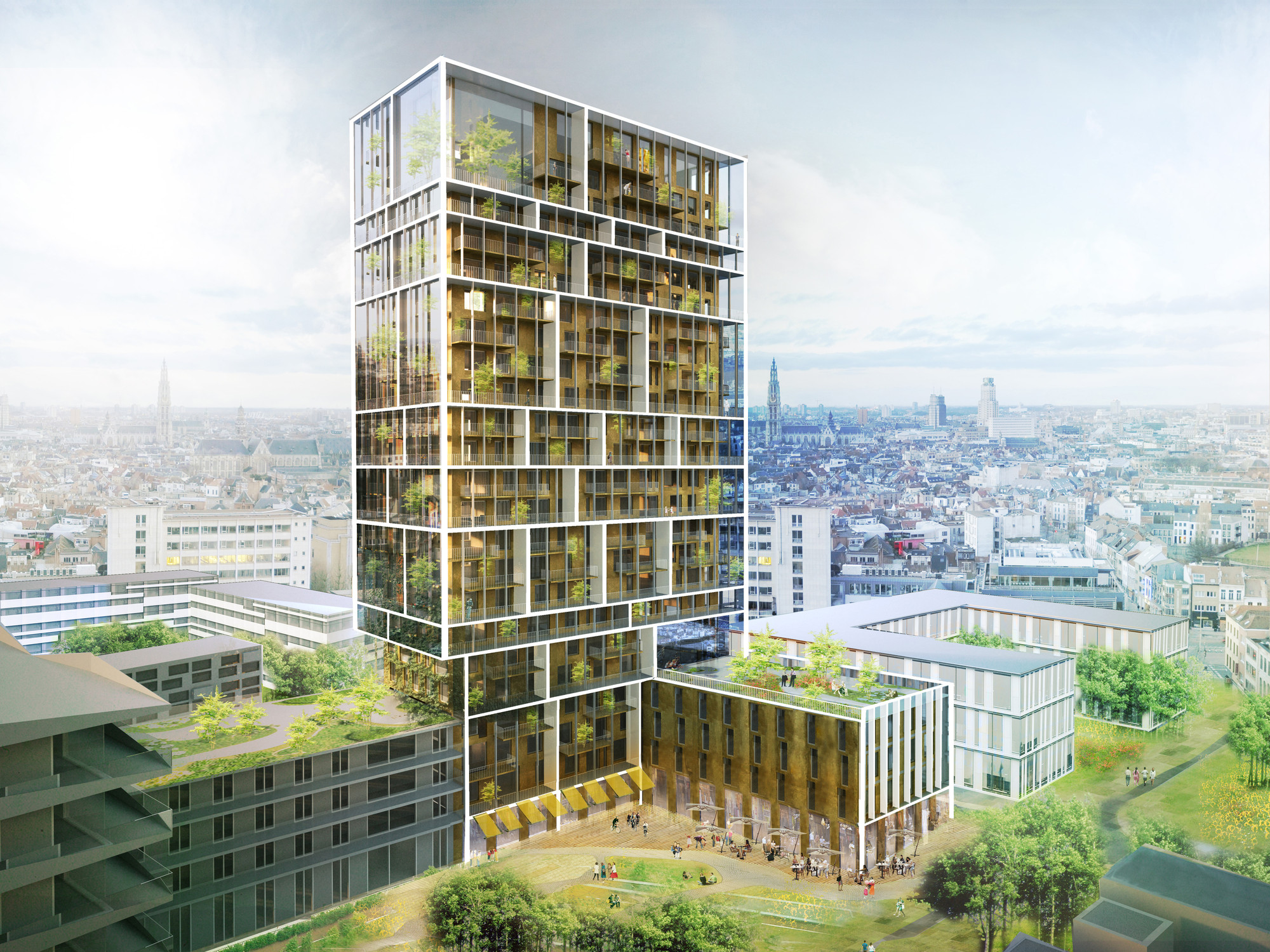 C.F. Møller Chosen to Design Antwerp Residential Tower , C.F. Møller's residential and mix-use tower design in Antwerp, Belgium.