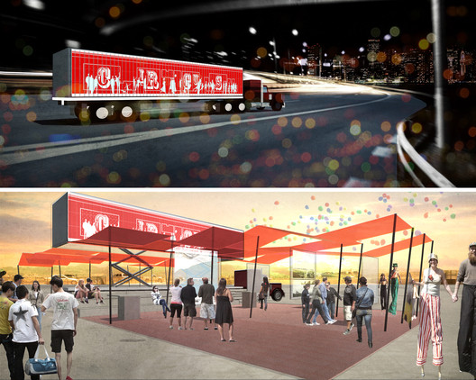 """Winning entry """"Circus for Construction"""" by Ann Lui, Ashley Mendelsohn, Larisa Ovalles, Craig Reschke, and Benjamin Widger. Image Courtesy of Storefront for Art and Architecture"""